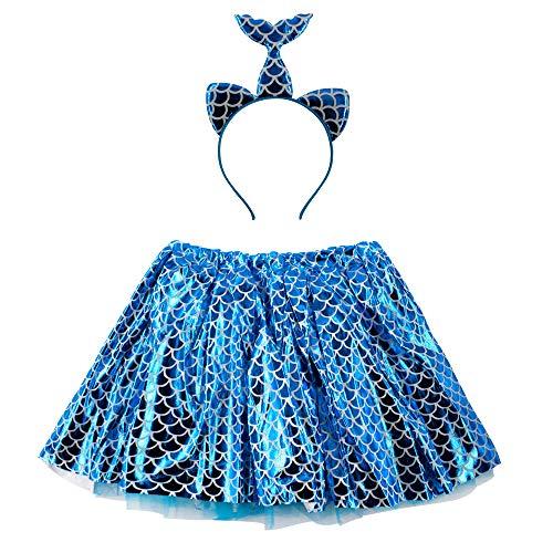 Disfraz de Sirena Falda Tutu Mujer de Baile con Diadema con Brillo, Pack de 2 Piezas para Fiesta Cintura 60-110cm (Azul, Talla única)