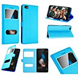 Etui Housse Coque Pochette View Interieur Silicone Turquoise Huawei Honor 8