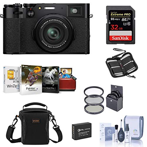 Fujifilm X100V Digital Camera, Black - Bubdle with Camera Case, 32GB SDHC Card, Spare Battery, 49MM Filter Kit, Cleaning Kit, Memory Wallet, Mac Software Package