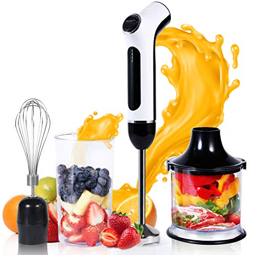 Cordless Hand Blender USB Rechargeable, 4-in-1 Immersion Hand Blender with Sturdy Titanium Plated Stainless Steel Blades, Including 500ml Chopper, 600ml Beaker and Whisk