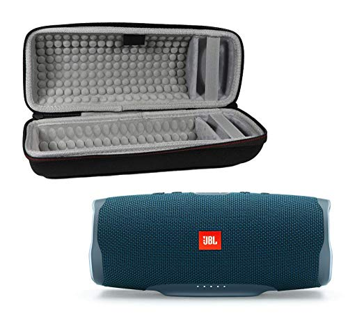 JBL Charge 4 Waterproof Wireless Bluetooth Speaker Bundle with Portable Hard Case - Blue (Renewed)