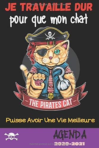 Je travaille dur pour que mon chat puisse avoir une vie meilleur: Agenda Scolaire 2020-2021 | couverture  Chat Pirate| 140 pages | collège lycée étudiant