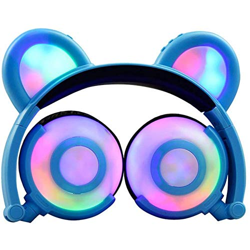 HX0945 Draadloze hoofdtelefoon voor kinderen, met leuke katten-oor-LED-on-ear hoofdtelefoon, opvouwbare hoofdtelefoon voor jongens/meisjes, headset ondersteuning TF-kaart, aansteker comfortabele hoofdtelefoon muziekspeler