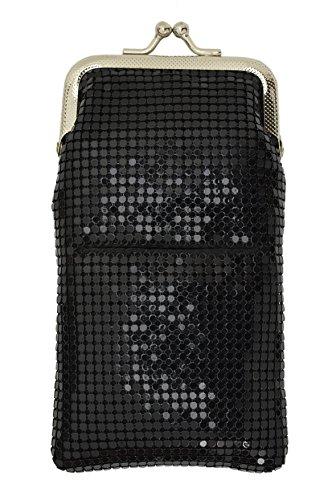Sequin Cigarette Soft Mesh 100s 120 S Cigarette Case with Lighter Pocket By Marshal (Black)
