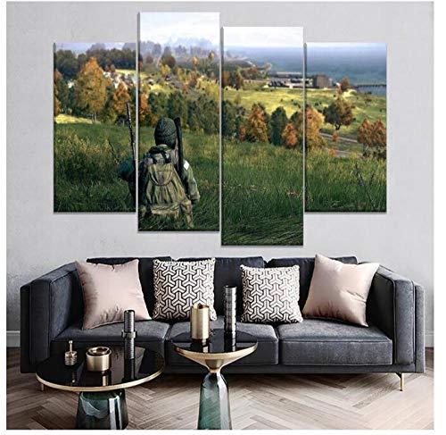 KPWAN Dekoration 4 Panel Game DayZ Soldat Poster Moderne Wandkunst Wohnzimmer Bilder Leinwanddrucke Kein Rahmen Größe A