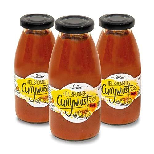 Söllner's Heilbronner Currywurstsosse scharf 3er Set, Currywurst, Wurst, Grillen, Grillsosse, Dip, Dipsosse, Fondue, Raclette, Geschenk,