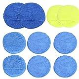 LOPOTIN 10PCS Applicatore Spugna Tamponi in Microfibra Tamponi di Cera per Auto Pulizia Schiuma Spessa per Lucidatura Ceretta Pulizia Vernice Auto Lavabile Riutilizzabile Morbido Diametro 20 mm