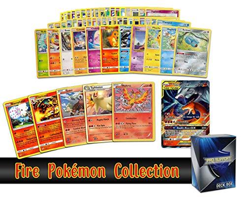 Pokemon fire Collection - 50 Pokemon Cards Plus 5 Rare fire Pokemon and 1 fire Ultra-Rare Card Free pro Support Deck Box Include