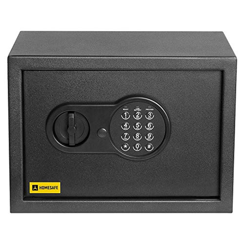 Homesafe HV25E Tresor Safe mit Elektronischem Schloss, 25x35x25cm (HxWxD), Carbon Satin Schwarz