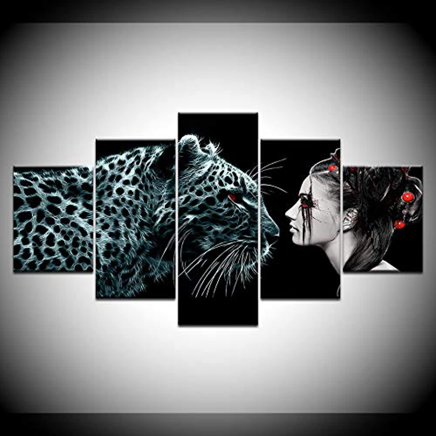 5set Printed Leopard Woman Picture Canvas for Wall Art Home