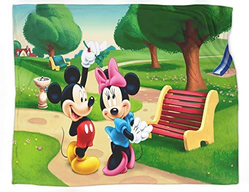 Manta de franela ligera y acogedora de Mickey y Minnie, manta de cama ligera, acogedora y acogedora, tamaño 152 x 127 cm