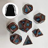 Zacheril Juego de Dados 7pcs Set Antiguo Metal Poliédrica Dados Juegos Juego de Roles (Color : Blue, Size : One Size)