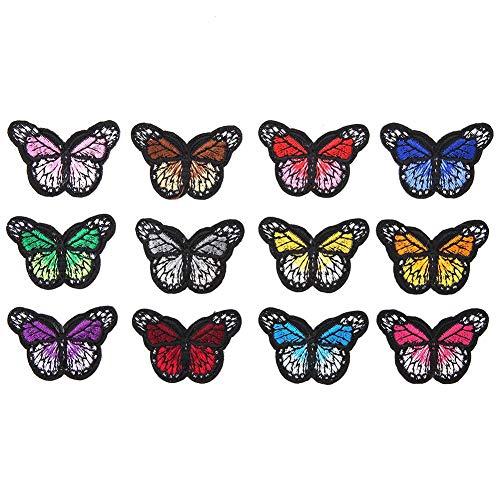 Garosa 12PC Patchs en Tissu à Motif Papillon vêtements de Bricolage raccommodage Accessoire de Broderie de Dessin animé vêtements Autocollant de Fer sur Patch pour Vestes Sacs à Dos Jeans vêtements
