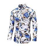 Loeay Nouvel Automne Nouveaux Chemises à Manches Longues à Fleurs et Boutons Plus Chemise Sociale hawaïenne à Fleurs Blanc Bleu M