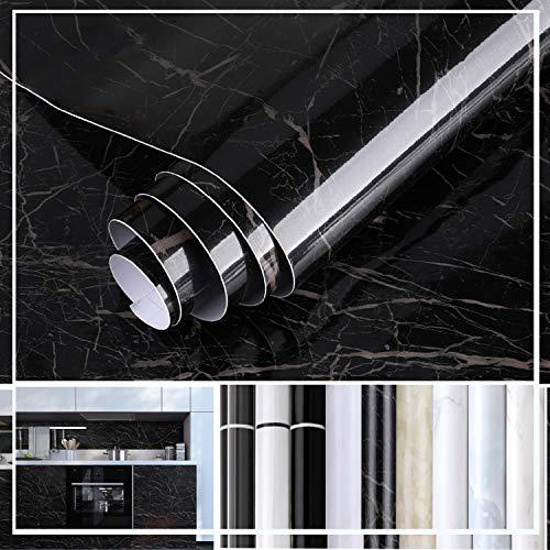 KINLO Möbelfolie Klebefolie glanz Marmor Folie 0.61 x 5 m Aufkleber Küchenschränke Selbstklebende Küchenfolie PVC Tapeten Dekofolie Schrank Folie Wasserfest verändern und aufwerten Ihre Küche und Bad