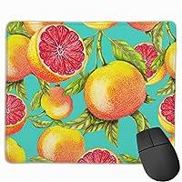 ラップトップコンピュータ用のステッチエッジ滑り止めゴムベースマウスマット付きグレープフルーツ塗装マウスパッド