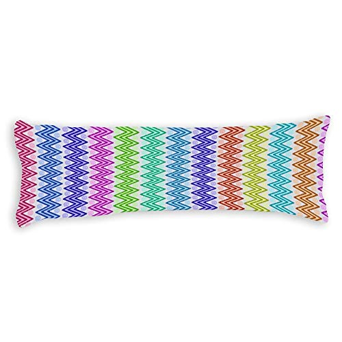 Multi Colored Zig Zags Body Pillow Cover Pillowcases Cushion with Hidden Zipper Closure for Sofa Bench Bed Home Decor 20