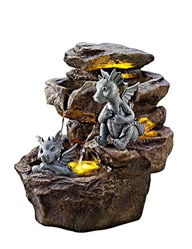 Gartenbrunnen Gismo | ca. 38 cm hoch mit LED-Beleuchtung | 2 detailreich gestaltete Drachenfiguren | 3 beleuchtete Wasserbecken | mit integrierter Wasserpumpe