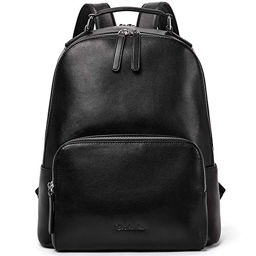 BOSTANTEN Genuine Leather Backpack for Women,13 Inch Laptop Rucksack Shoulder Bags Fashion Casual City Daypacks School Convertible Backpack Black