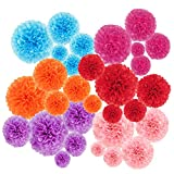 30 pcs Paper Pom Poms Decorations-Tissue Paper Flower for Party, Wedding, Birthday,Baby Shower Decor (14',10',8',6',4')