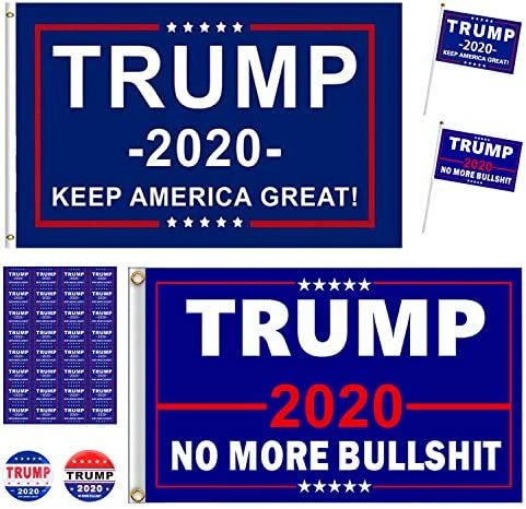 2 PCS President Donald Trump 2020 Flags 3X5 Feet with Grommets and 2 PCS Hand Held Flags and product image