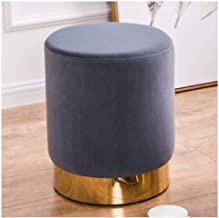 WEHOLY Foot Stool Gray Footstools and s Large Round Velvet Footstool – Compact – Perfect for Living Room, Bedroom and Chil...