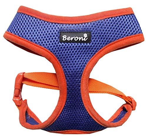 Softgeschirr Hundegeschirr für kleine Hunde Brustgeschirr Mesh Sommer bunt blau-orange verstellbar von Chihuahua bis Mops (S (Hals: 25-30cm, Brust: 30-41cm))