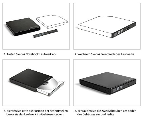 SALCAR Laufwerksgehäuse Extern Slimline SATA USB3.0 (External Super Drive Caddy Box) Plug & Play für 12,7mm CD/DVD Laufwerk Brenner