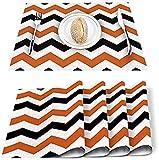 Juego de 4 manteles individuales,diseño de zigzag a rayas,rectangular,lavable,resistente al calor,antideslizante,decoración de cocina para casa de campo,mesa de cocina,color negro,naranja y blanco