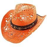 Vamuss Straw Cowboy Hat W/Vegan Leather Band...