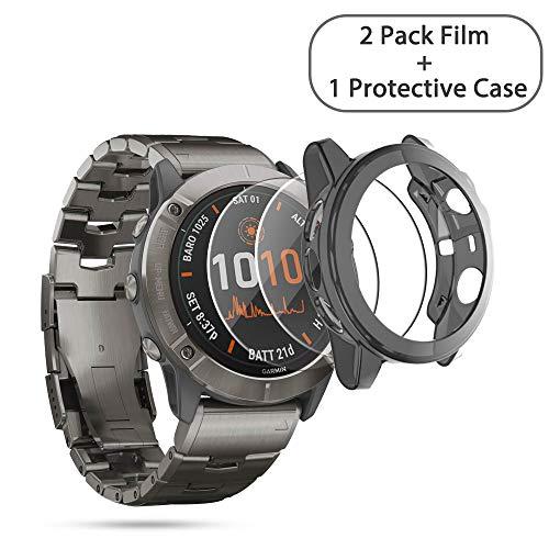 NEWZEROL Funda de Silicona + Paquete de 2 Protectores de Pantalla de Vidrio Templado Compatible para Garmin Fenix 6X Pro Watch, [Película de Alta resolución] Funda de Silicona antiarañazos- Negro