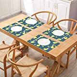 FloraGrantnan Mesas de aislamiento térmico de lino de cocina, diseño de Pascua sin costuras con pollos cha, cenas y buffet, juego de 8