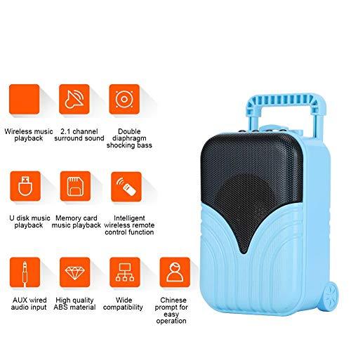 Luidspreker, Bluetooth-luidspreker, Mini draadloze Bluetooth-luidspreker, Bagagekoffer Vorm Draagbare insteekkaart Muziekspeler, met stijlvol en voortreffelijk uiterlijk(Blauw)