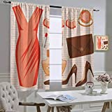 hengshu Room Darkening Blackout Window CurtainsHeels and DressesAccessories Fashion Cocktail Dress Lipstick Earrings High Heels, Thermal Insulated Soundproof Curtain Salmon Brown PeachW84 x L84 Inch