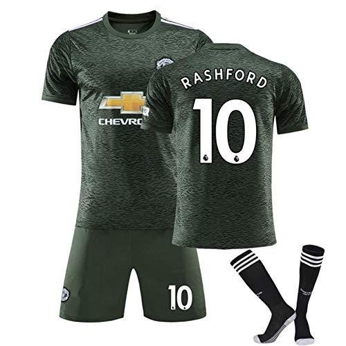 SHUER 2021 Manchester Jersey Estados Rashford 10# Fútbol, Nueva Camiseta Cortos Calcetines Kits con Nombre Y Número, Competencia Camisetas De Fútbol Personalizada Traje Away-M