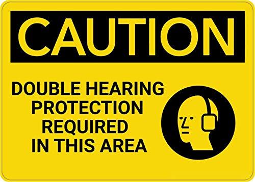 Mesllings Veiligheidswaarschuwing Metalen bord Let op: PPE dubbele gehoorbescherming vereist in dit gebied 8