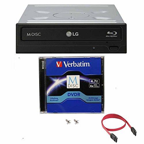LG 16x Blu ray/BDXL/BD/M-Disc/CD/DVD Brenner für Desktop mit Kostenlos 1 Mdisc DVD Pack + Kabel & Befestigungsschrauben WH16NS40