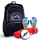 OutVenture Very Strong 800LB Magnet Fishing Kit with Backpack Carrying Case and 800 Pound Pull 90mm Neodymium Magnet   65FT Rope with Carabiner   Pair of Gloves