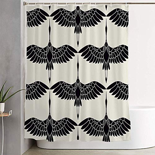 Lacfiora Bathroom Shower Curtains Set Pattern Sky Bird On Japanese Form Spring Black Stylized Birds White Chinese Cranes Nature Textures Shower Curtain Waterproof Fabric with Hooks 72 x 72 Inches