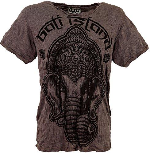 GURU-SHOP, Sure T-Shirt Ganesh, Marrón Topo, Algodón, Tamaño:L, Camisetas Seguras