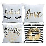 ynester - copricuscino decorativo in flanella, motivo: labbra dorate, effetto bronzo, 45 x 45 cm, ideale per divano o letto o come regalo, white flannel bronzing, 45 x 45 cm