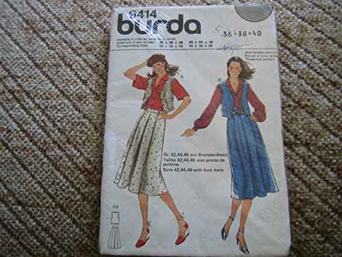 Burda Vintage mehrgrößen Schnittmuster 9414 - Damen Ensemble: Rock + Veste - Gr 36-40