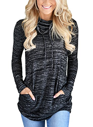 GOSOPIN Damen Sweatshirt Gestreift Rollkragen Loose Tops Farbblock Langarm Herbst Tunik S-XXL, #3, XX-Large(EU52-54)