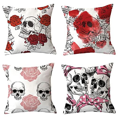 wjmss 4 Paquete Cubiertas de Almohadas de Lanzamiento, 18 x 18 InchessUn Cráneos y Roses Square Pillowcasas Decorativas para Sofá Couch Cojines De Cojín De Cojines