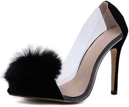 DDSHYNH PVC transparente Pumps, Slip-On Slip-On Slip-On High Heels mit dünnem Absatz und Spitzen Zehen Damen Party Schuhe Nachtclub Pumps Schwarz  Willkommen zu kaufen