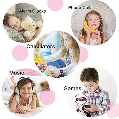 Smartwatch Kinder - mit 7 Puzzlespiel Musik Player Zwei-Wege-Telefon Digitalkamera SOS Alarmrechner Uhr Kinder Intelligente Smart Watch für 4-12 Jungen Mädchen Geburtstag Festival Geschenk - Rosa