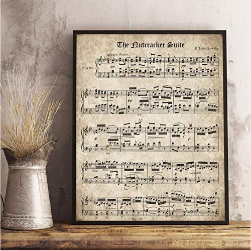 Canvas Print Posters en Prints De Notenkraker Vintage Sheet Muziek Poster en Print Tchaikovsky Klassieke Piano Muziek Canvas Schilderen Muurfoto Home Decor 50cmx70xm Frameless