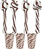 Candy Cane Spoons With Edible Shot Glasses - Hot Cocoa Flavored (6 of Each) Individually Wrapped - For Hot Chocolate, Coffee, Christmas Party Supplies Decorations, Xmas Gift Bags by 4E's Novelty