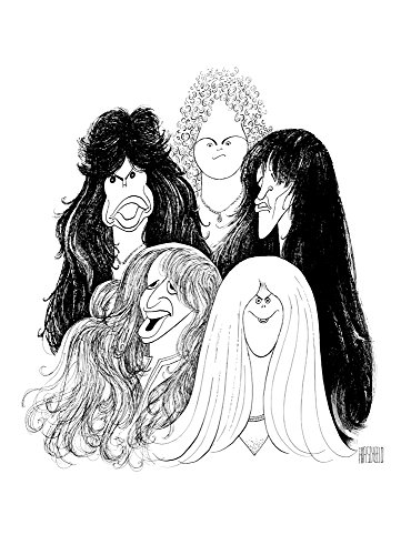 Al Hirschfeld's AEROSMITH Hand Signed Limited Edition Lithograph Featuring Steven Tyler, Joe Perry, Brad Whitford, Tom Hamilton, and Joey Kramer