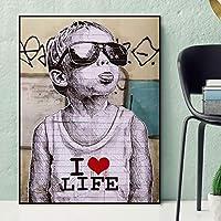 キャンバス絵画私はライフストリートウォールグラフィティアートボーイサングラス付き抽象アートキャンバスプリント子供用部屋の装飾60x90cmフレームレス